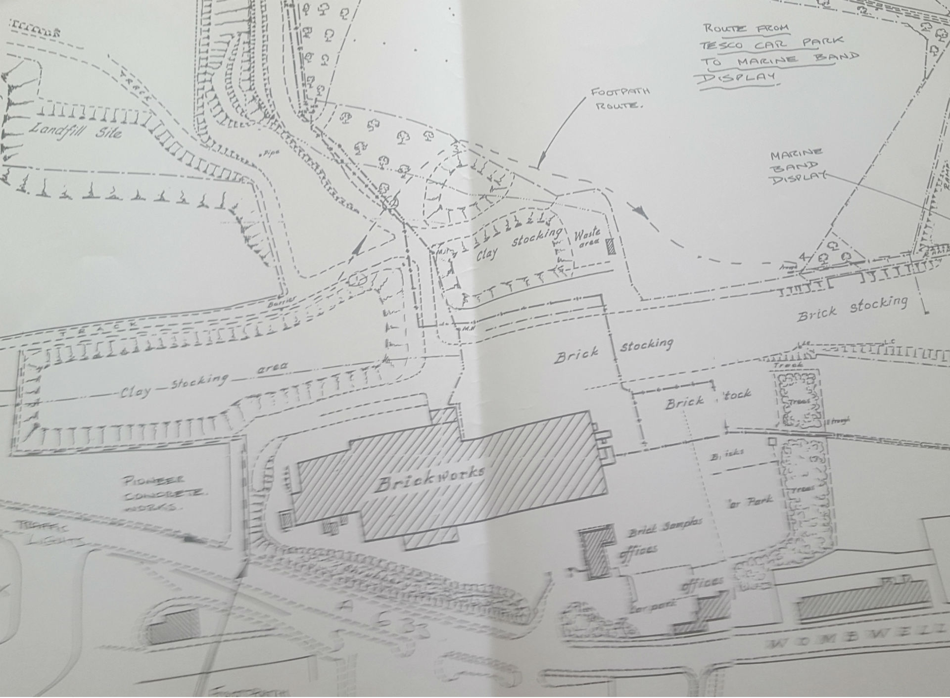 Site plan of Stairfoot Brickworks circa late 1980s